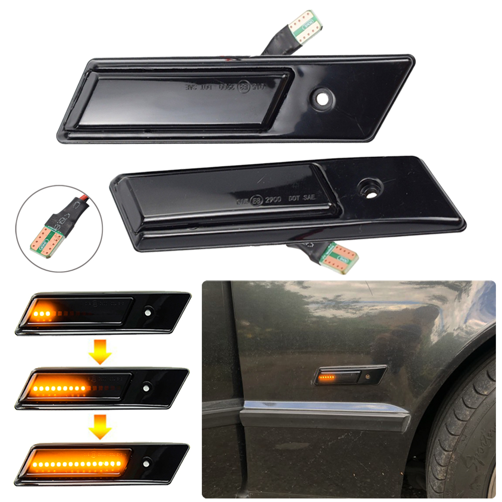 For BMW 3 5 7 Series E32 E34 <font><b>E36</b></font> 1990-1996 <font><b>LED</b></font> Dynamic Turn Signal Light Flowing Water Side Marker Indicator Light image