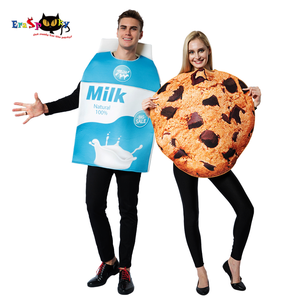 2019 Funny Food Cosplay Milk Cookies Fancy Dress Halloween Couple Costumes For Adult Women Biscuits Christmas Party Outfits