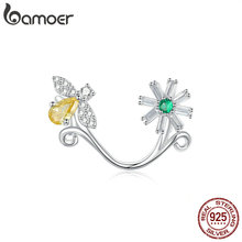 bamoer Daisy and Bee Charm for Women Bracelet Cubic Zirconia Flower Bijoux 925 Sterling Silver European DIY Jewelry SCC1220