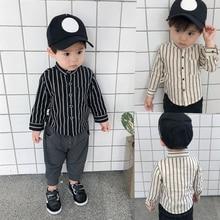IENENS Boy Long Sleeves Shirts Baby Boys Striped Shirt Kids Tops Tees Shirts Spring Child Casual Thin Blouse