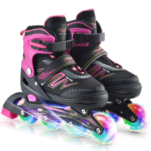 цена на Inline Skates Adjustable Rollerblades with Illuminating Wheels Outdoor Roller Skates Children Tracer Adjustable Inline Skate