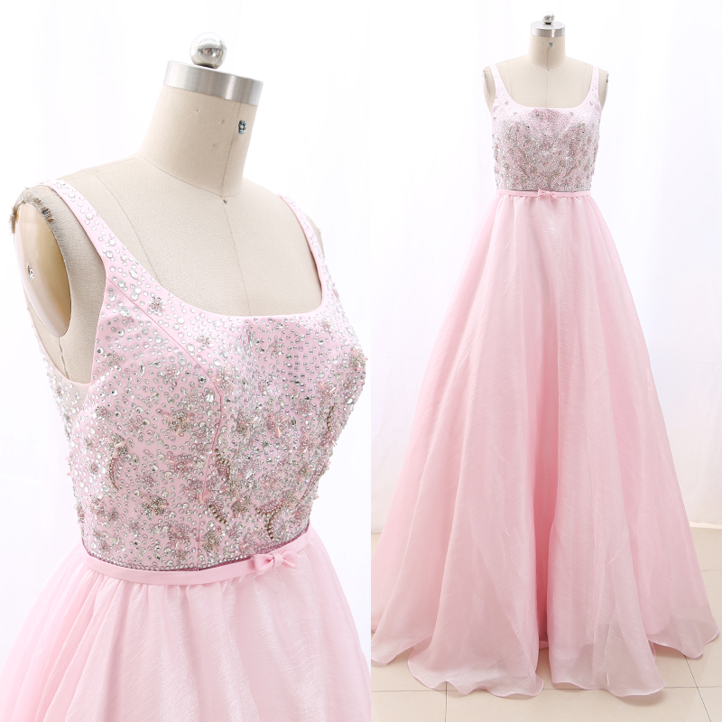 MACloth Pink Ball Gown O Neck Floor-Length Long Crystal Tulle Prom Dresses Dress M 268250 Clearance