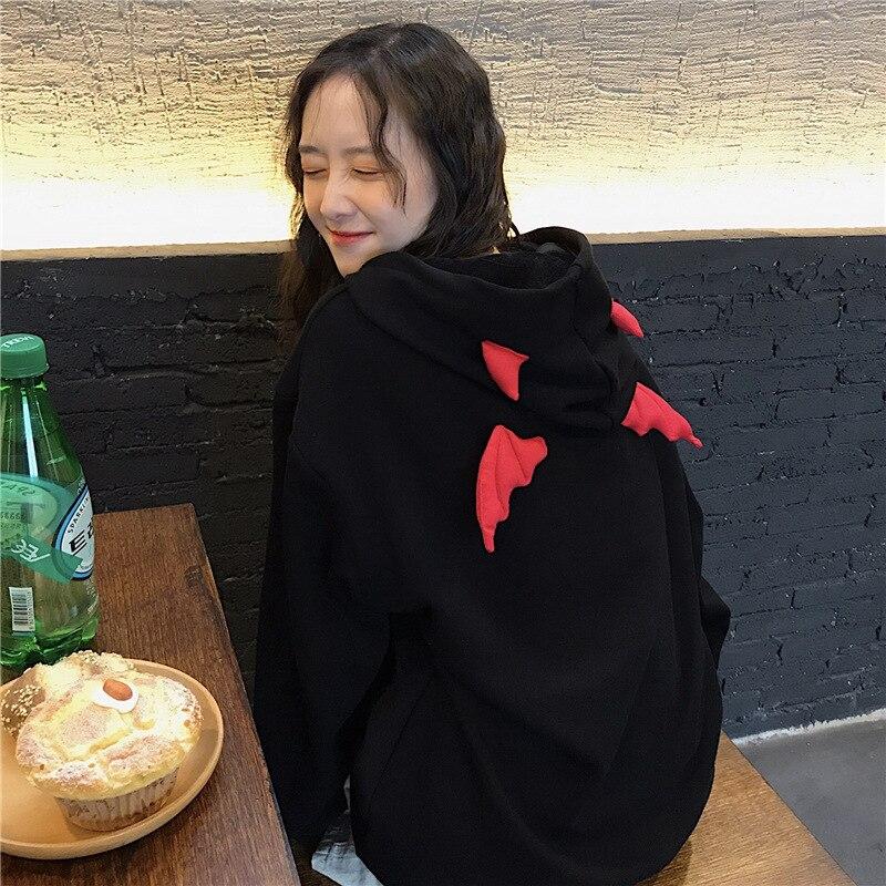 Femme Kawaii Capuche Sweat Haut Harajuku Démon Ailes Gothique Punk Noir