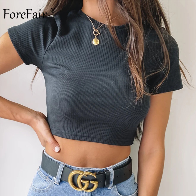 Forefair Knitted Tops Summer Women Short Sleeve Slim Sexy O Neck Tank Cotton Street Fashion Basic Casual Crop Top Women