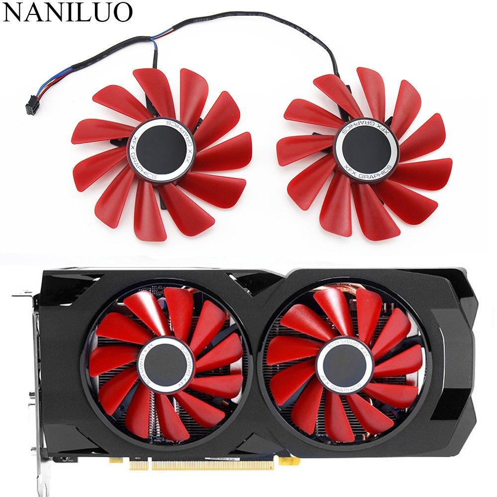 Placa de vídeo xfx rx570 rs rx580 rs, placas gráficas de 85mm de diâmetro RX-570-RS RX-580-RS FD10U12S9-C para substituição e resfriamento como ventilador