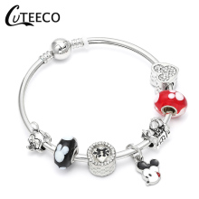 цена на CUTEECO Authentic Silver Mickey Minnie Beads Original Charm Bracelet For Women Jewelry European Brand Bracelets Gifts