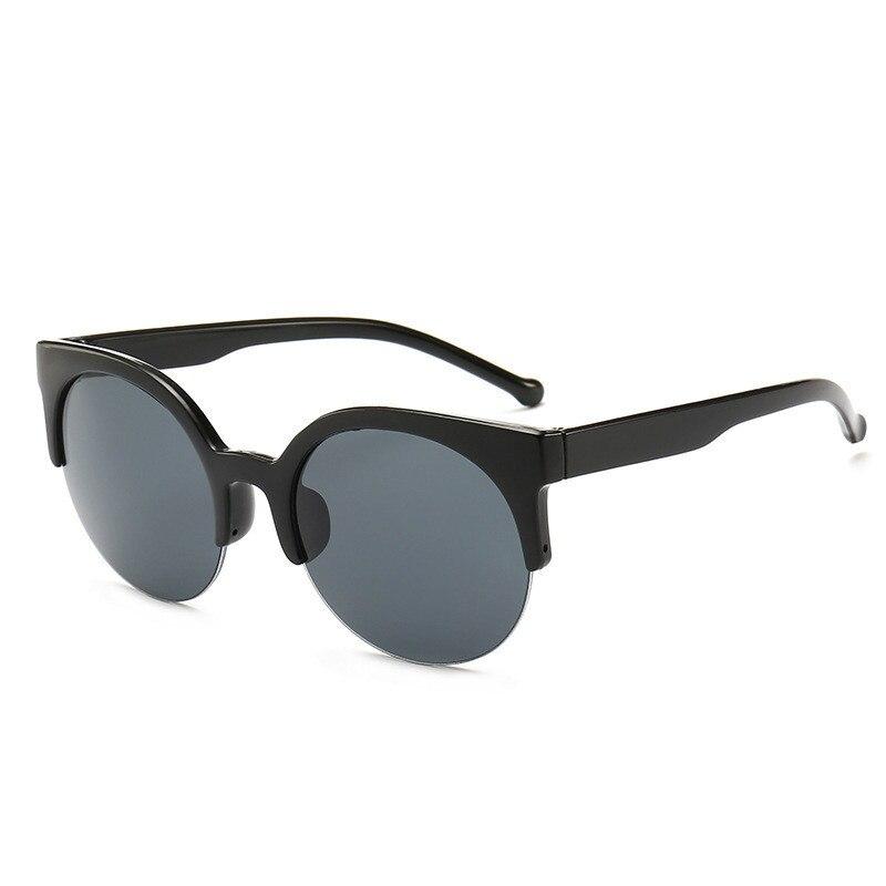 COOYOUNG-gafas de sol redondas para mujer, anteojos de sol femeninos de medio Marco, de diseño Vintage de marca, con UV400