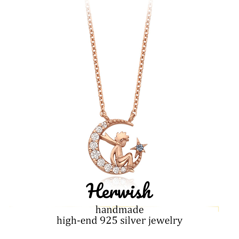 Herwish The Little Prince Pendant Necklace 925 Sterling Silver Bling Ziconia Figure Rose Link Chain Necklaces Women Jewelry-in Pendant Necklaces from Jewelry & Accessories