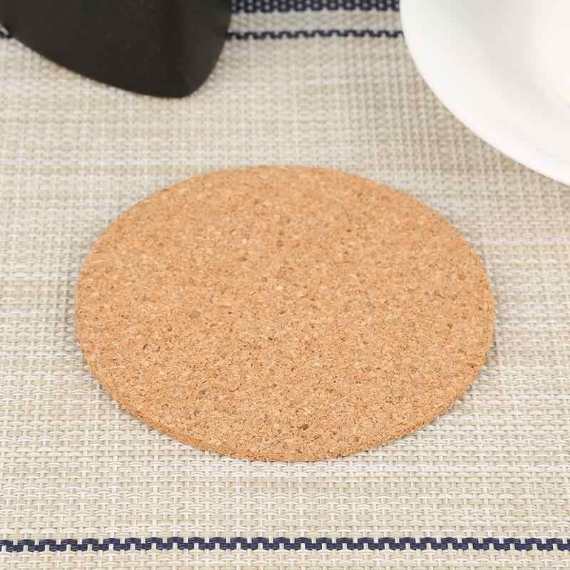 Natural Cork Coaster Bentuk Bulat Kopi Teh Panas Minuman Tatakan Tahan Panas Cangkir Mug Mat untuk Meja Makan Dapur Aksesoris