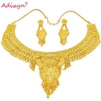 Adixyn India Choker Necklace Earrings Gold Color/Copper Jewelry Sets African/Nigerian Bridal Wedding Accessories Gift N02216