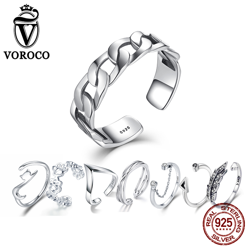 VOROCO  925 Sterling Silver Wedding Ring Multi-style Rings Open Adjustable Size Fingers For Woman Fashion Jewelry VSR036
