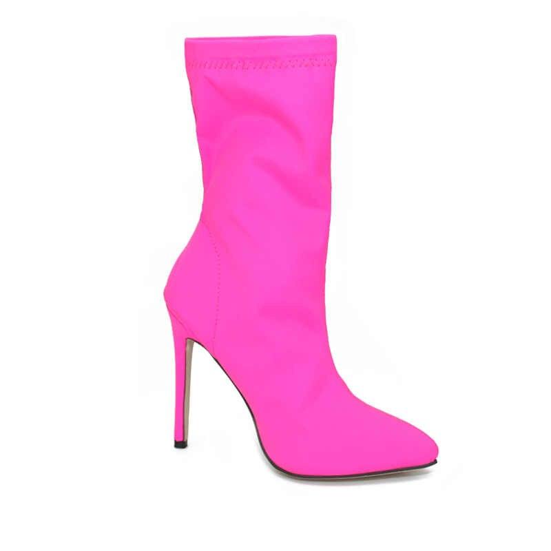 Kobiety buty Pointed Toe elastyczne buty cukierki kolor płócienne buty wysokie skarpetki buty na cienkich wysokich obcasach kobiet buty pompy rozmiar 35-43