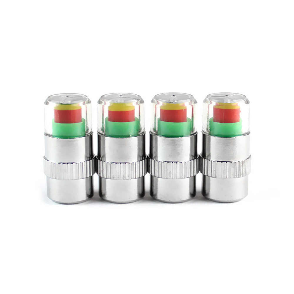 Tapas de válvula indicadoras de sensor de alerta de gage de neumático de monitor de presión de coche de 4 piezas