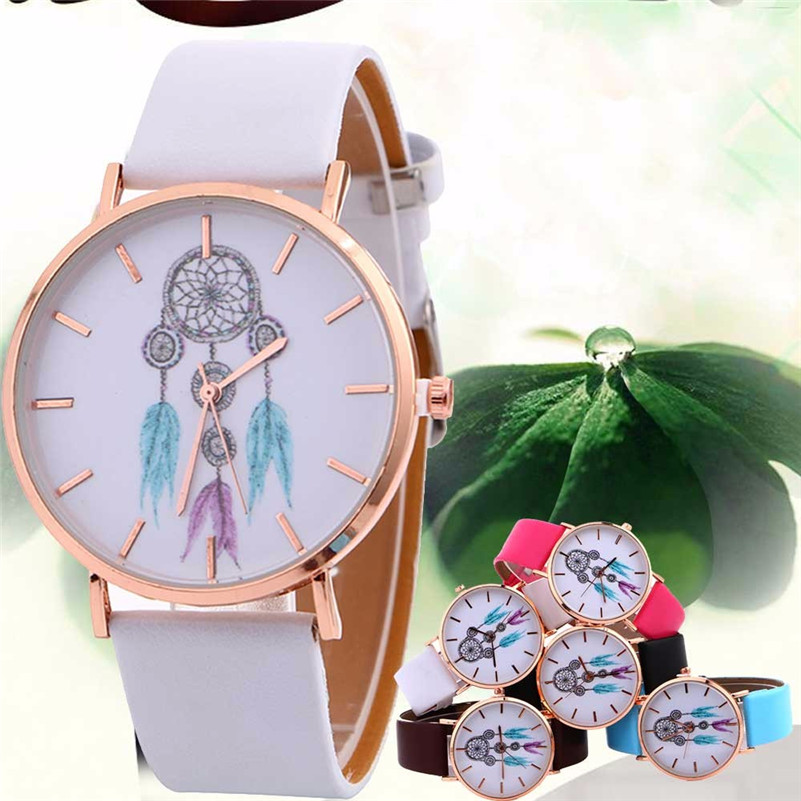 Relojes Para Mujer Ladies Casual Watches Fashion Dream Catcher Quartz Watch Leather Strap Belt Women's Watches Dress Clock #D