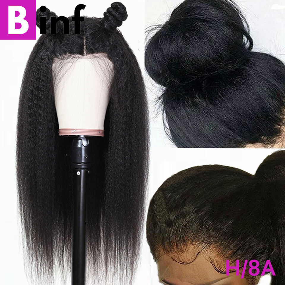 360 Lace Frontal Wig Kinky Straight Brazilian Remy Human Hair Wigs Pre-Plucked Hairline With Baby Hair Black Friday Deals