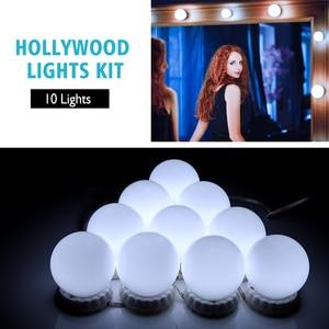 Image 3 - Bộ 10 Đèn Led Gương Trang Điểm Sáng Đèn Vanity Gương Trang Điểm Mờ Hollywood Đèn Tường Đựng Mỹ Phẩm Gương Cho Bàn Trang Điểm