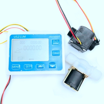 G1/2 inch Water Flow Controller System Set LCD Display + Solenoid Valve Gauge + Flow Sensor Meter Counter Indicator Reader