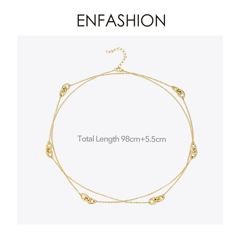 Image 5 - ENFASHION Geometric Hollow Chain Choker Necklace Women Gold Color Stainless Steel Long Necklace Fashion Femme Jewelry P193060Chain Necklaces   -