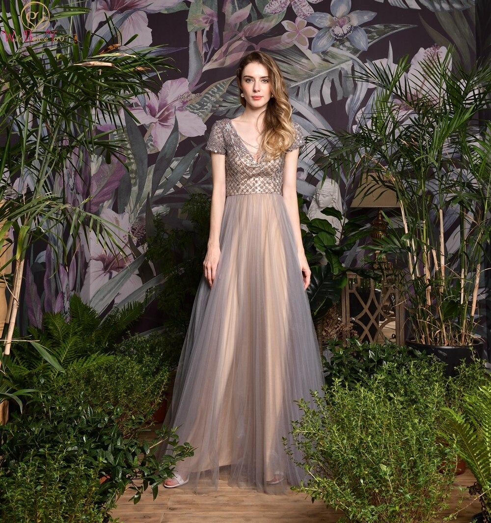 Gray Champagne Deep Tassel V-Neck Elegant A-Line Evening Dresses Short Sleeve Formal Party Long Prom Gowns robe de soiree 2019