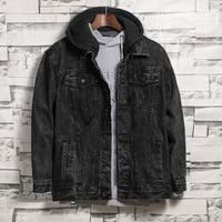 New Autumn Winter Fashion Men Retro Loose Hooded Denim Jacket Men's Black Casual Washed Jean Jacket Coat Cowboy Outerwear Male