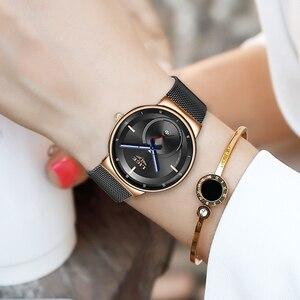 Image 3 - LIGE женские модные часы, креативные Женские повседневные часы из нержавеющей стали с сетчатым ремешком, стильные дизайнерские Роскошные Кварцевые часы для женщин 2020