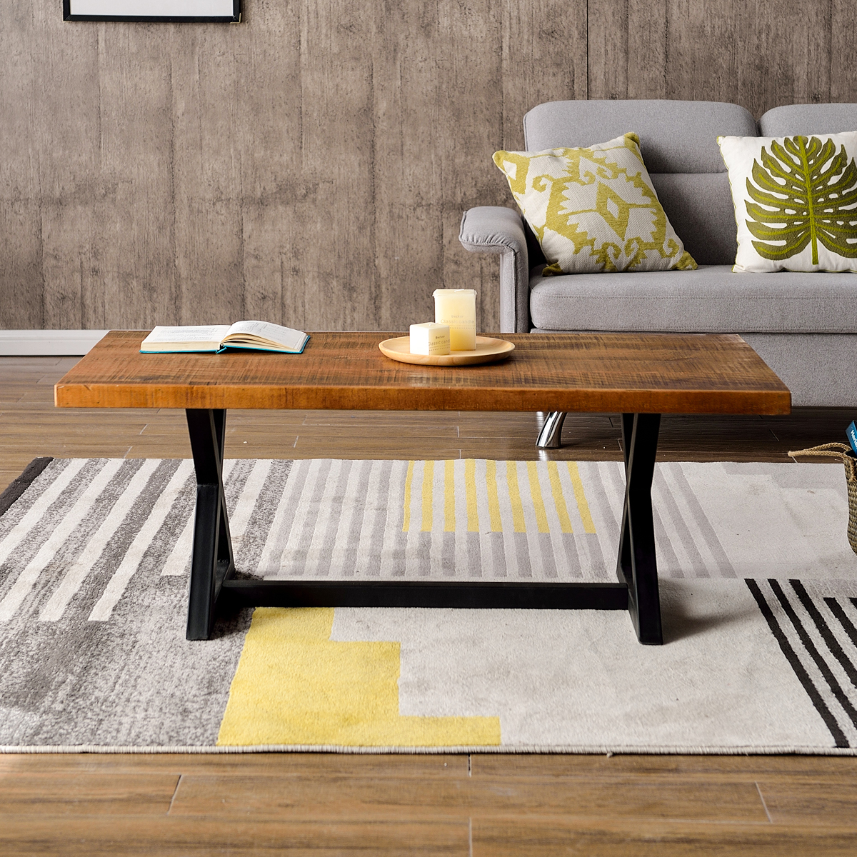 - New Nature Wood Coffee Table Easy Assembly Tea Table Rustic