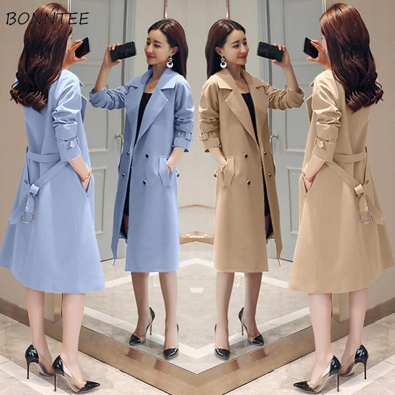Trench Women Adjustable Waist Large Size Leisure Double Breasted Korean Harajuku Womens Elegant Office Lady Windproof Long Coat