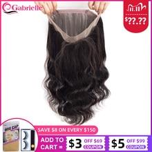 GabrielleบราซิลBody Wave 360ลูกไม้ด้านหน้าปิดด้วยBaby Hair Remy Hairมนุษย์Pre Pluckedลูกไม้ฟรีการจัดส่ง