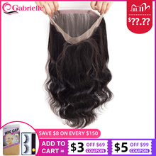 Gabrielle Brazilian Body Wave 360 Lace Frontal Closure with Baby Hair Remy Human Hair Pre Plucked Lace Frontal Free Shipping