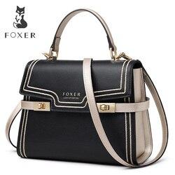 FOXER Marke Vornehme Dame Große Kapazität Leder Messenger Taschen Weiblichen luxus Stilvolle Schulter Taschen Dame Valentinstag Geschenk