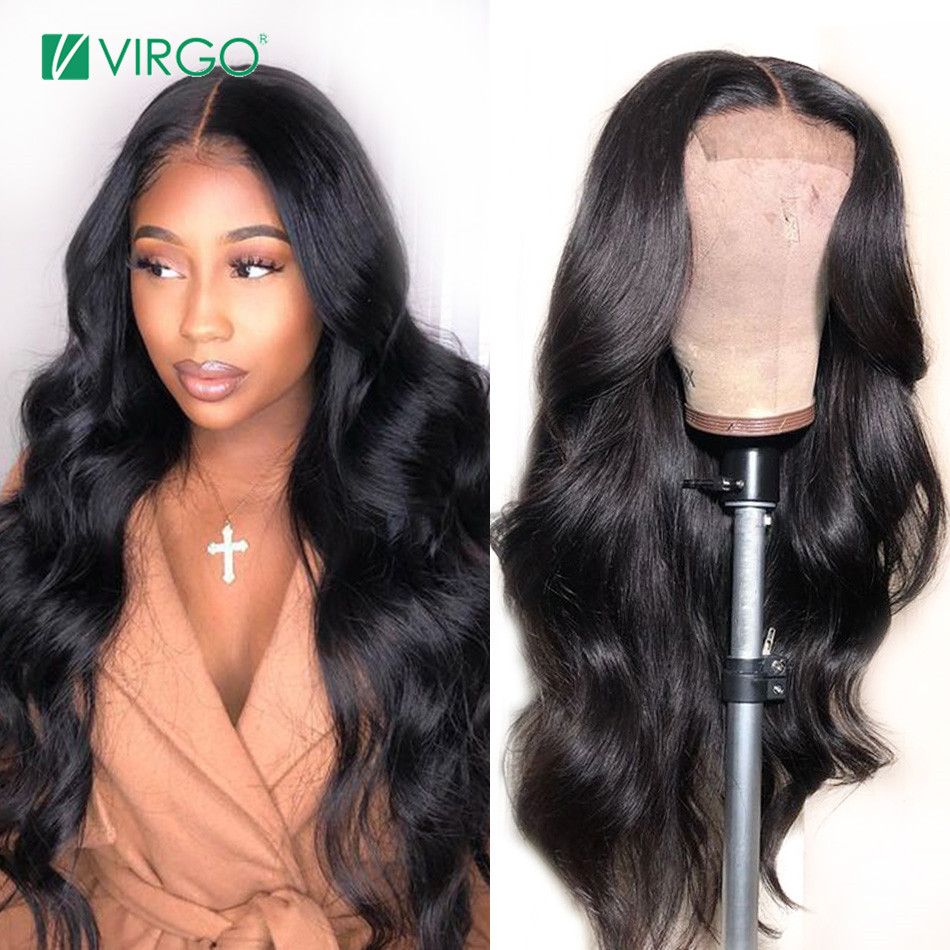 Volys Virgo Hair 4X4 Closure Wig Peruvian Lace Closure Human Hair Wigs With Baby Hair Body Wave Wig For Black Women Remy Hair