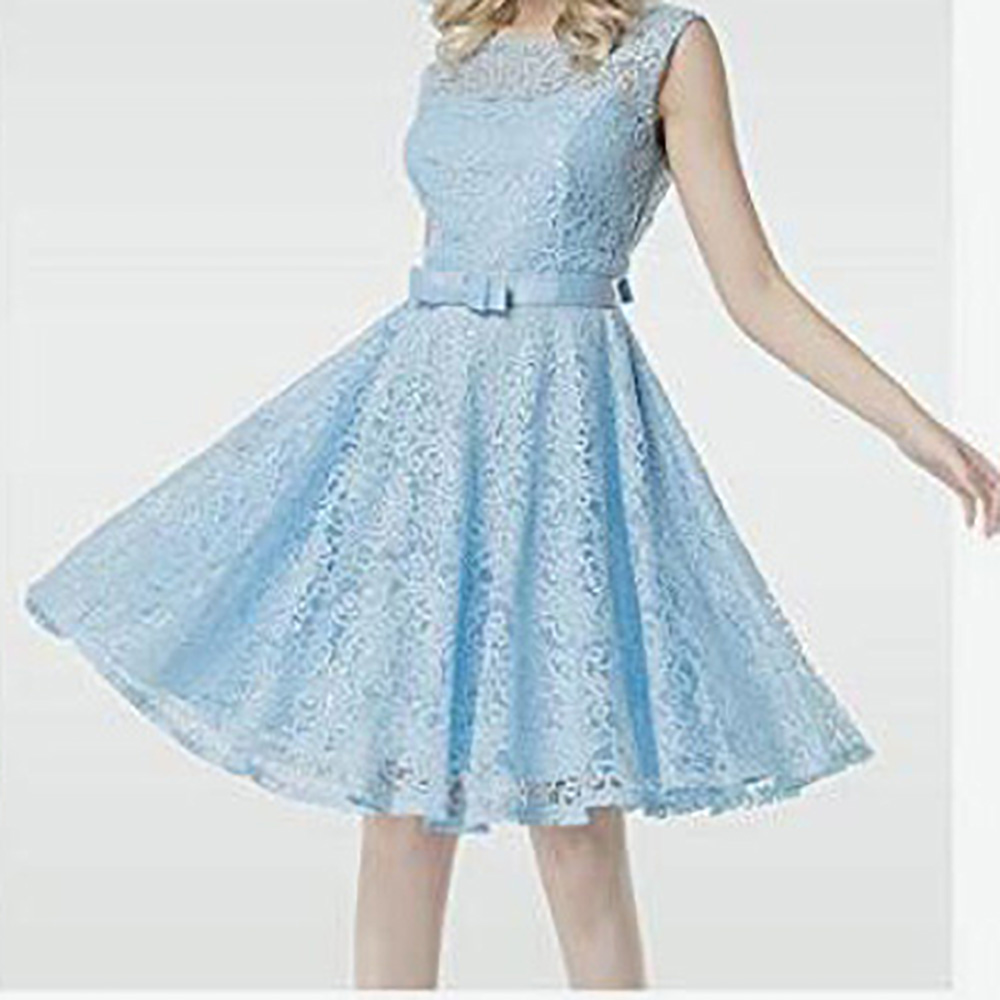 Women Robe Retro Vintage Dress Womens Lace Dress Embroidered Princess Bridesmaid Wedding A-Line Party Dresses Swing Pinup