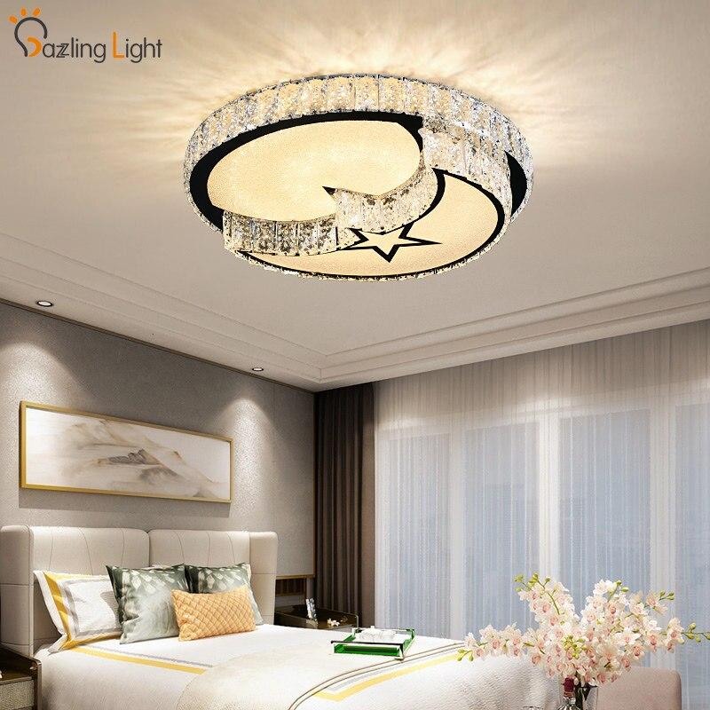 Modern LED ceiling lights for living room bedroom star and moon style ceiling light cristal crystal led ceiling light