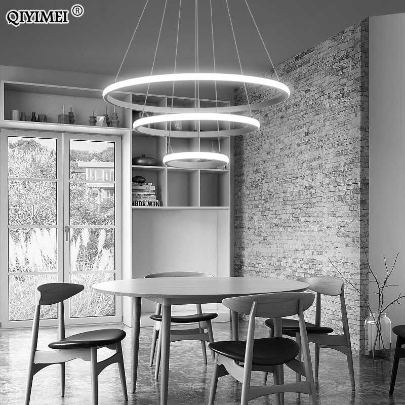 Modern LED Pendant Lights Hang Lamp Living Room Foyer White Coffee Black External Illumination Ring Lighting Luminaria Abajur De