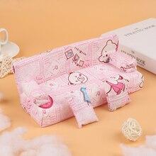 1 комплект, новый симпатичный миниатюрный цветочный тканевый диван с 2 подушками для кукол, детский игровой домик, игрушки, кукольный домик, ...