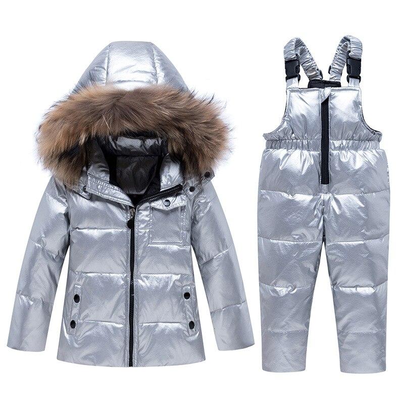 New Winter Boy Girl Ski Suit Baby Winter Warm Clothes Sets  Snowsuit Children Fur Hooded Down Jacket Coat 5 Colors