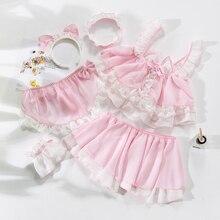 로리타 귀여운 고양이 소녀 섹시한 하녀 유니폼 투명 란제리 여학생 여자 악마 코스프레 의상 애니메이션 속옷 복장