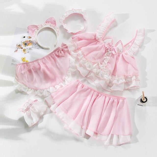 Lolita uniforme chat mignon pour fille, uniforme de Lingerie transparente pour écolière femmes, Costumes Cosplay diable, tenue de sous vêtements Anime
