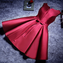 KAUNISSINA Satin Cocktail Dress Elegant A-Line Pleated Bow Party Gown Short Prom Dress Women Homecoming Robe Graduation Vestidos