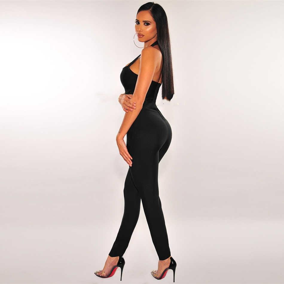 Seksowny kombinezon bandażowy z wyciętymi plecami damski bez rękawów wiszący kołnierz ortopedyczny body Club kombinezon typu Bodycon na imprezy 2020 moda jesień nowy