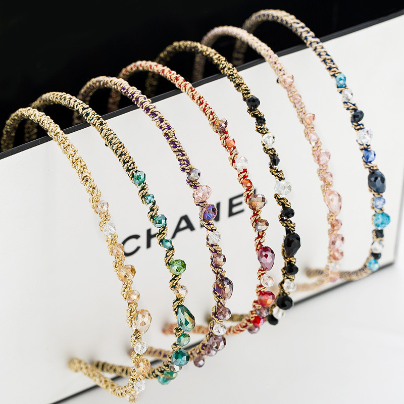 Women Rhinestone Hair Bands Hair Clips Crystal Hair Hoop Hair Circle Korean Ladies Headband Accessories With Imitation Earrings