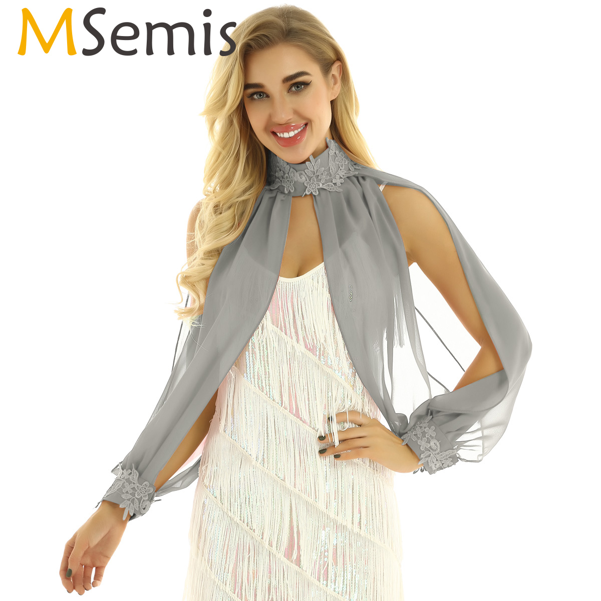 MSemis Women Sleeves With Split Elegant Cape Chiffon Shrug Wraps Arm Warmers Shrug Arm Cover Ups Dance Raglan Long Flare Sleeve
