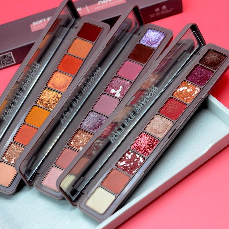 Novo Brand 9 Colors Glitter Galaxy Eye Shadow Palette Pigment Shimmer Matte Eyeshadow Makeup Flash Shine Diamond Shadow Kit