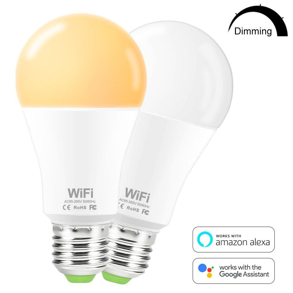 15W WiFi Smart Bulb E27 B22 110V 220V 2835 Dimmable Wireless WiFi Remote Control Lamp Light Work With Amazon Alexa Google Home
