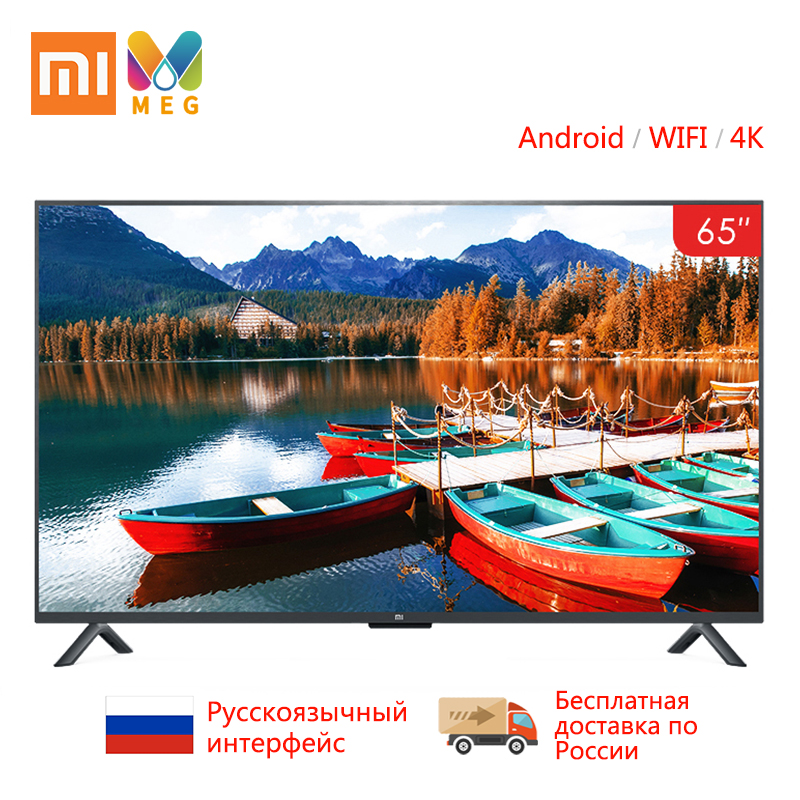 Xiao mi mi TV Android Smart TV televisão 4S 65 polegadas 4K QFHD Aparelho de TV de Tela WI-FI Ultra- fina 2GB + 8GB som Dolby 100% Russificado