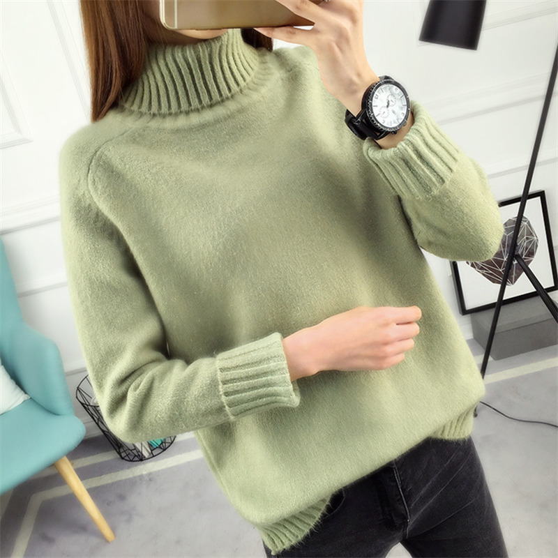 14 Colors 2019 Autumn Winter Sweater Women Knitted Turtleneck Sweater Casual Soft Fashion Slim Femme Elasticity Pullovers NS9097