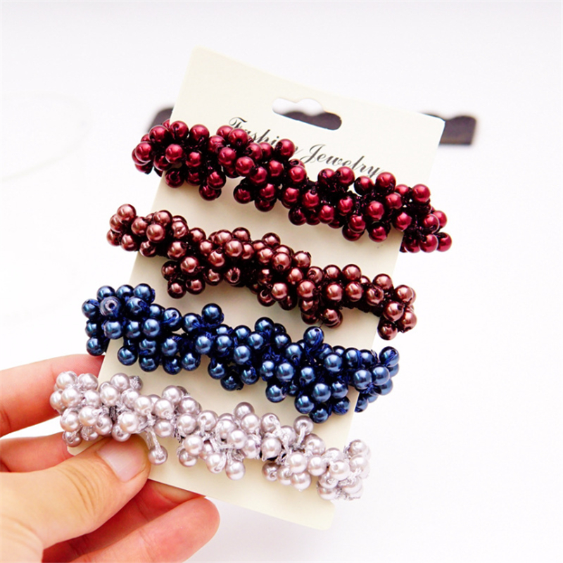 Fashion Pearls Beads Hair Scrunchies Ponytail Holder for Girls Elastic Hair Bands Rubber Rope Headbands Hair Accessories