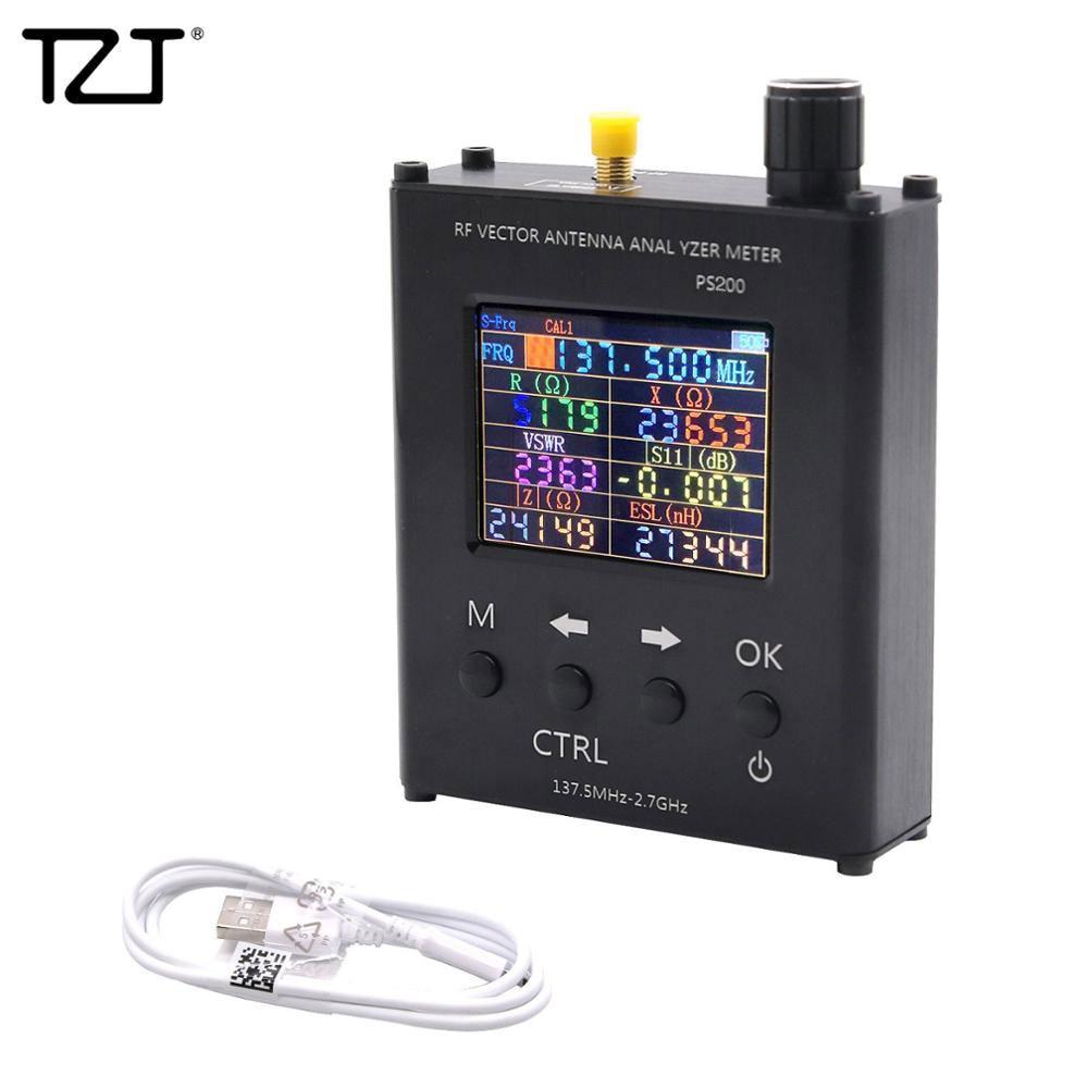 TZT N1201SA + 35MHz - 2.7GHz UV RF analyseur d'antenne testeur de compteur SWR avec coque en alliage d'aluminium PS100/PS200