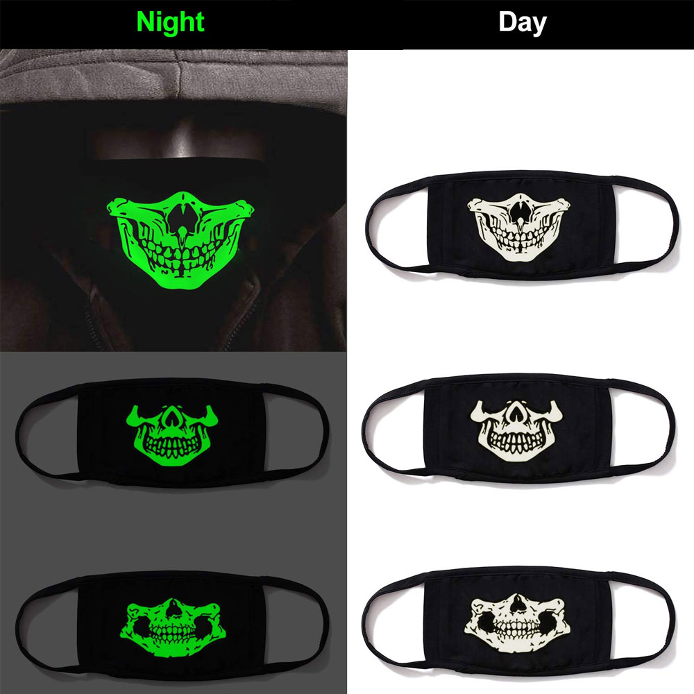 1Pcs Luminous Cotton Unisex Anti-dust Black Mouth Mask Cover With Glowing Green Vampire Teeth Print For Men Women Boys Girls New