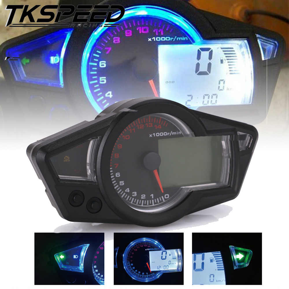 FREE SHIPPING Motorcycle LCD Speedometer Motorcycle  Digital Odometer Speedometer Tachometer Fit for 2&4 Cylinders